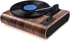 VOKSUN Vintage Turntable 3-Speed Bluetooth Vinyl Record Player LP AM/FM Function