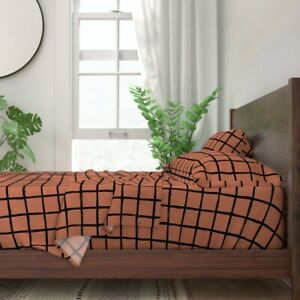 Check Geometric Copper Abstract Grid 100% Cotton Sateen Sheet Set by Roostery