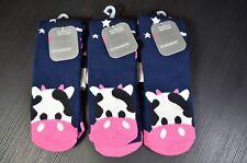 3 Pairs / Lot Nobo Cow Print Socks, Cute Cow Pattern Crew Socks, Women M - Large