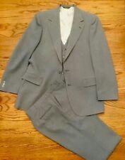 Vintage Men'S Johnny Carson 3 Piece Suit 42? Gray Pinstripe Excellent Condition