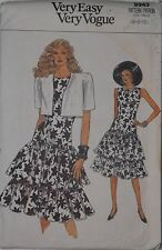 Vogue 9943 Sewing Pattern Misses' Ruffled Skirt~Dress~Jacket Sizes 6 8 10 Uncut