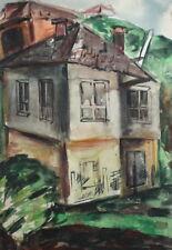 LANDSCAPE VINTAGE IMPRESSIONIST WC PAINTING HOUSE