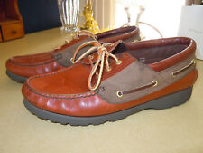 """ ST. JOHN'S BAY "" TAN LEATHER & CANVAS 3 EYE BOAT SHOES - SEE PHOTOS - SZ 10 M"