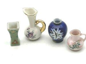 Vintage Dollhouse Porcelain Ceramic Vase Lot of 4 Miniature  see photos defects