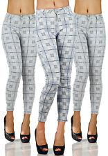 Sexy Stretchy Pepita Chequered Blue Office Jeans Trousers Skinny L 874
