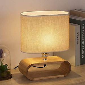 Unique Bedside Table Lamp  Mini Wooden LED Modern Nightstand Table Lamp NEW