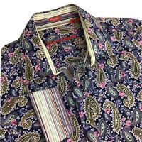 ROBERT GRAHAM Shirt XL Paisley Purple Pink Gold Flip Cuffs