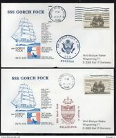 ✔️ UNITED STATES 2 RARE COVERS GORCH FOCK German Navy Training Ship