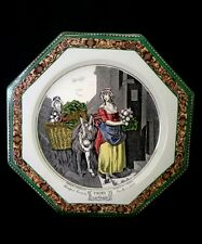 """Antique Adams Tinstall England pottery plate Cries of London 10"""" late 19th cent."""