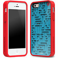 Nouveau 3D rétro maze game hard case cover tpu pare-chocs arrière-iPhone 5 5S SE bleu/rouge