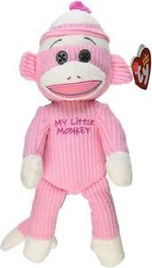 "Ty Beanie Baby My Little Monkey Pink Sock Monkey 10"" 26cm New Rare MWMT"