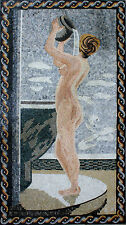 Bathing Bathroom Nude Water Shower Stand Framed Decor Marble Mosaic FG802