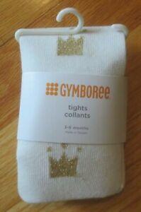 Baby girl GYMBOREE GOLD GLITTER CROWNS TIARAS WHITE Cotton Tights NWT 3m 6m