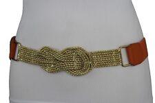 Hot Women Belt Gold Infinity Buckle Fashion Waist Hip Orange Elastic Plus M L XL
