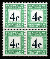 SOUTH AFRICA 1969 4c. Deep Myrtle Green & Emerald POSTAGE DUE BLOCK SG D62b MNH