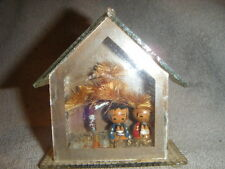 2 small JAPANESE CREATIVE KOKESHI  DOLLs in GLASS W/ TREES JAPAN