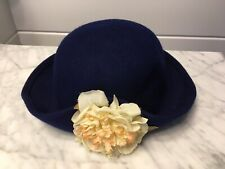 Vintage Girls Wool Bowler Hat Navy Blue With Flower