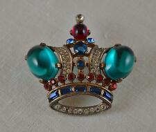 Large Vtg 1944 Trifari Alfred Philippe Sterling Emerald Cabochon Crown Brooch!
