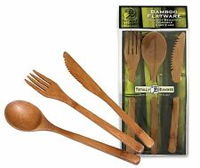 Totally Bamboo Flatware 3 Piece Set Fork Knife Spoon Reusable 20-2006