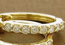 E27 Genuine 18K 18ct Gold Sparkling NATURAL Diamond HUGGIE Hoop Earrings 0.50ct