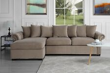 Large Classic Modern Velvet Sectional Sofa, Scroll Arm L-Shape Couch, Brown