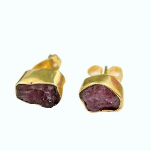 Natural Raw Red Ruby July Birthstone Yellow Gold Plated Stud Earrings For Women