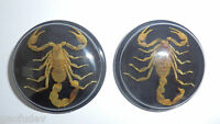 Insect Cabochon Golden Scorpion 38.5 mm Round inner 35 mm on Black 2 pieces Lot