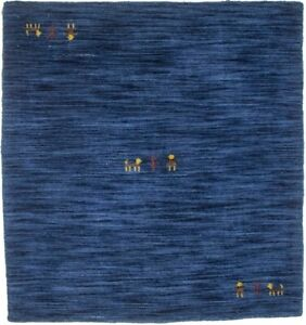 Contemporary Hand Loomed Solid Navy 3X3 Small Square Rug Oriental Decor Carpet