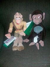 Retired Disney Store Tarzan Clayton Baby Baboon Plush Bean Bag Set Of 2 NWT
