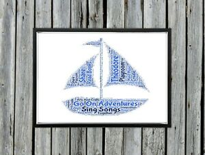 Personalised A4 Word Art Boat Kids Birthday Gift Photo Picture Print Image