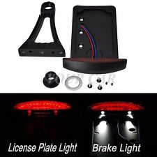 MOTORCYCLE LED SIDE AXLE MOUNT BLACK BIKE PLATE HOLDER BRAKE LICENSE TAG LIGHTS