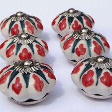 porcelaine céramique boutons tire-placard fleur blanche vert étoile & rouge (
