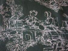 tissu toile de Jouy vert anglais coton Délices D'Amour en 150 de large au mètre
