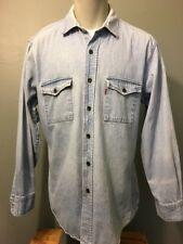 Vtg 80s 90s Levis Faded Cotton Denim Chambray Blue Jean Shirt Mens L Western L-S