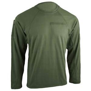 BULLDOG TACTICAL LONG SLEEVE T-SHIRT GREEN Men's Military Combat Tee w/ Pockets