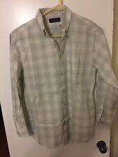 NWT Roundtree & Yorke Casuals Beige Plaid Button Shirt Mens M