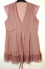 POWDER PINK LADIES FORMAL PARTY TUNIC TOP BLOUSE NEW LOOK SHEER LACE SIZE 12