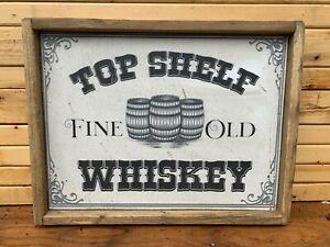 Antique Rustic Top Shelf Whiskey Wooden Sign Bar Tavern Wall Decor 12x16