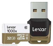 Scheda micro SD Lexar 32 GB UHS-II 1000x Classe 10 + mini lettore USB 3.0
