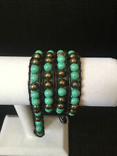 Bracelet/5mm chuncky turquoise color beads Genuine Dark Brown Leather Wrap
