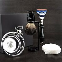 Luxury Wet Shaving 5 PC Gift Set Kit-Fusion Razor Badger Brush, Bowl & Soap