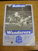 06/11/1984 Bolton Wanderers v York City  (cross word completed). Footy Progs (ak