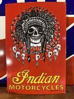 """LARGE VINTAGE """"INDIAN MOTORCYCLES"""" 16.5X11 INCH HEAVY PORCELAIN DEALER SIGN"""