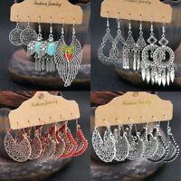 3Pairs Boho Womens Girls Earrings Set Antique Ear Stud Drop Dangle Jewelry Gifts
