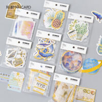 48 Pcs/2 Packs Flower Plant Whale Retro Gilding Decoration Diary Label Stickers