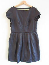 Cue Size 12 Gunmetal Grey Memory Satin Pleat Cap Sleeve Baby-Doll Style Dress