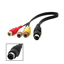 4 Pin S-video male to 3 RCA Female video adapter cable