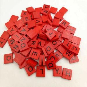 Red Wooden Scrabble Tiles complete set Red color Craft Pendant Spelling Alphabet
