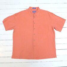 Vintage Men's Pendleton 100% Silk Salmon Color Short Sleeve Polo Shirt (L) New