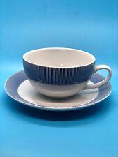 Crate & Barrel PINSTRIPE BLUE Cup & Saucer (4 Sets)